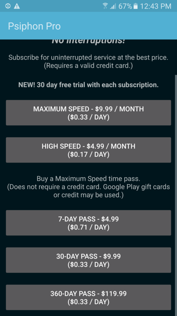 psiphon subscriptions